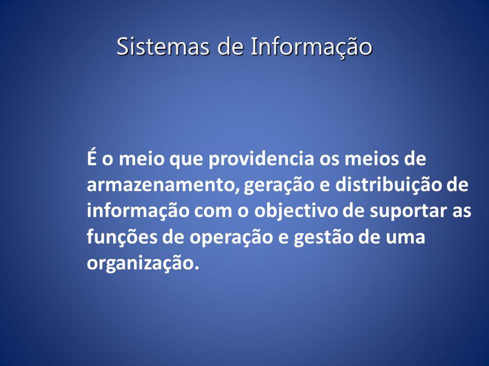 Sistemas de Informação É o meio que providencia os meios de armazenamento, geração e distribuição de informação com o objectivo de suportar as funções