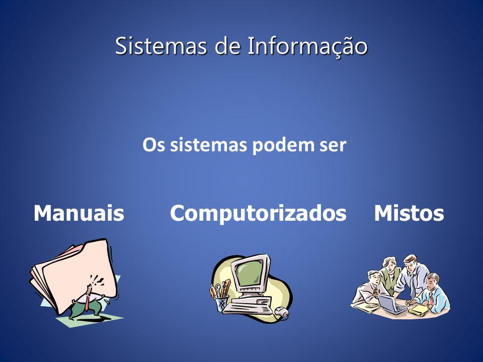 Sistemas de Informação Os sistemas podem ser ManuaisComputorizados Mistos