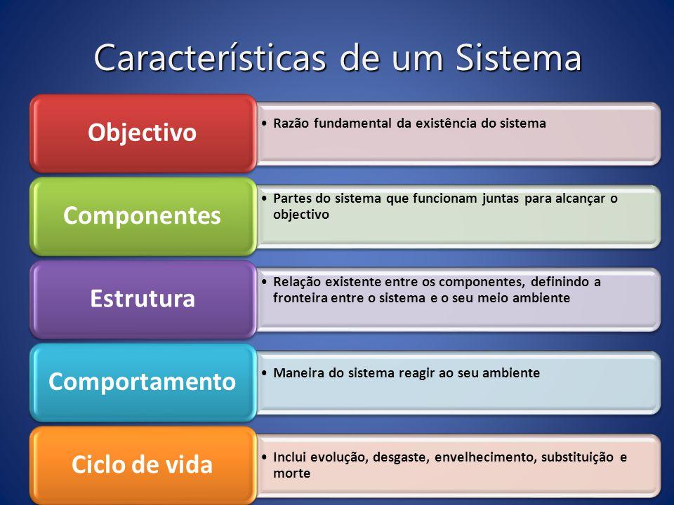 Características de um Sistema Razão fundamental da existência do sistemaRazão fundamental da existência do sistema Objectivo Partes do sistema que fun