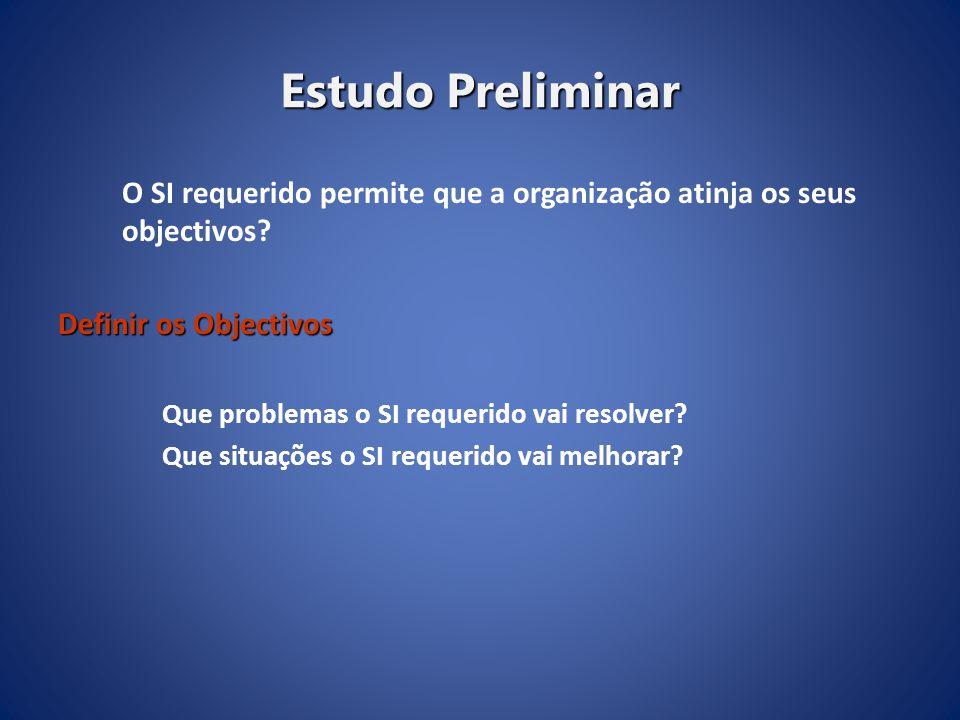 Estudo Preliminar O SI requerido permite que a organização atinja os seus objectivos? Definir os Objectivos Que problemas o SI requerido vai resolver?