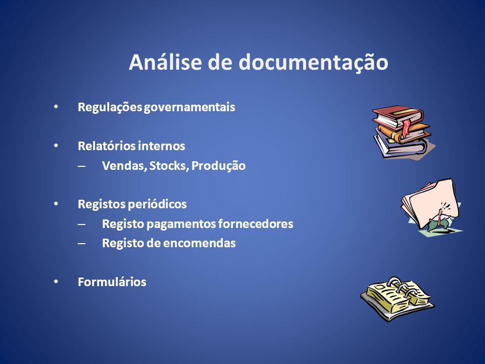 Análise de documentação Regulações governamentais Relatórios internos – Vendas, Stocks, Produção Registos periódicos – Registo pagamentos fornecedores