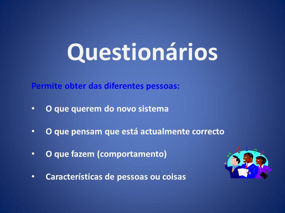 Questionários Permite obter das diferentes pessoas: O que querem do novo sistema O que pensam que está actualmente correcto O que fazem (comportamento