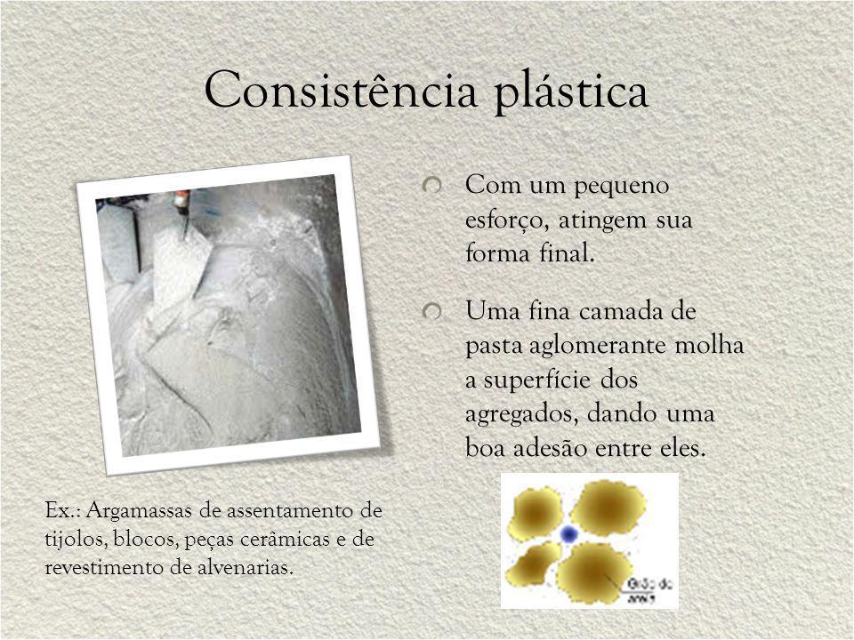 Consistência plástica Com um pequeno esforço, atingem sua forma final. Uma fina camada de pasta aglomerante molha a superfície dos agregados, dando um