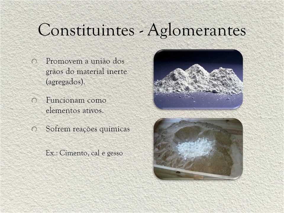 Constituintes - Aglomerantes Promovem a união dos grãos do material inerte (agregados). Funcionam como elementos ativos. Sofrem reações químicas Ex.: