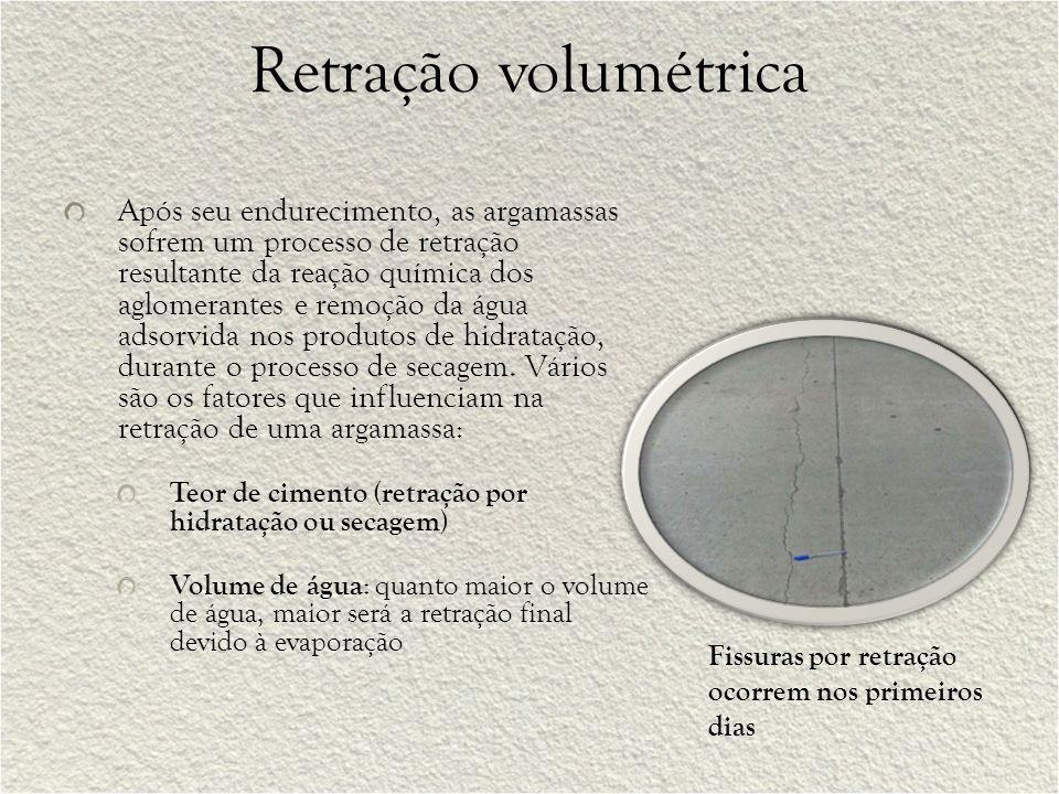 Retração volumétrica Após seu endurecimento, as argamassas sofrem um processo de retração resultante da reação química dos aglomerantes e remoção da á