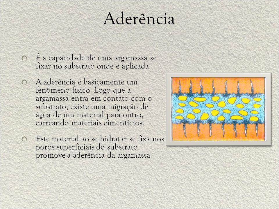 Aderência É a capacidade de uma argamassa se fixar no substrato onde é aplicada A aderência é basicamente um fenômeno físico. Logo que a argamassa ent