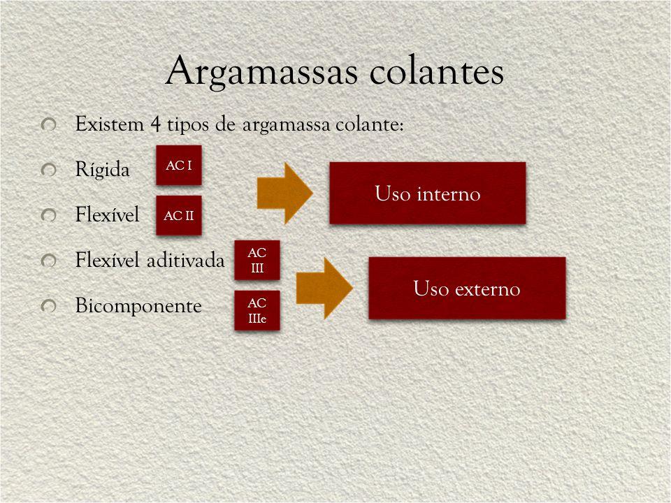 Argamassas colantes Existem 4 tipos de argamassa colante: Rígida Flexível Flexível aditivada Bicomponente Uso interno Uso externo AC I AC II AC III AC