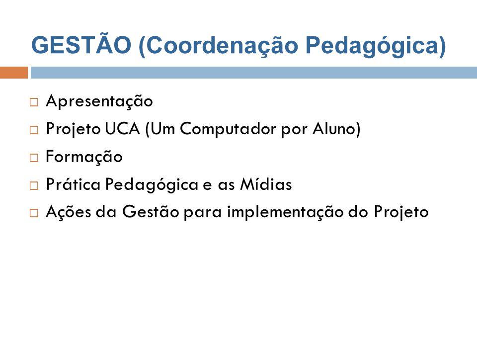 GESTÃO (Coordenação Pedagógica)  Apresentação  Projeto UCA (Um Computador por Aluno)  Formação  Prática Pedagógica e as Mídias  Ações da Gestão p