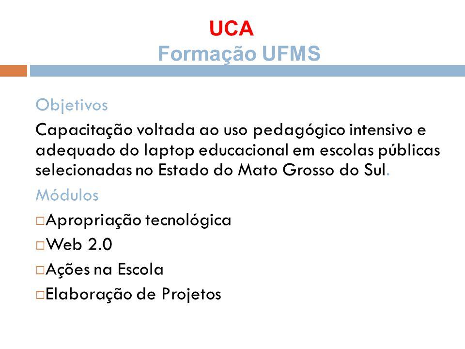 UCA Formação UFMS Objetivos Capacitação voltada ao uso pedagógico intensivo e adequado do laptop educacional em escolas públicas selecionadas no Estad