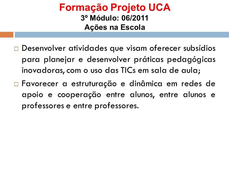 Formação Projeto UCA 3º Módulo: 06/2011 Ações na Escola  Desenvolver atividades que visam oferecer subsídios para planejar e desenvolver práticas ped