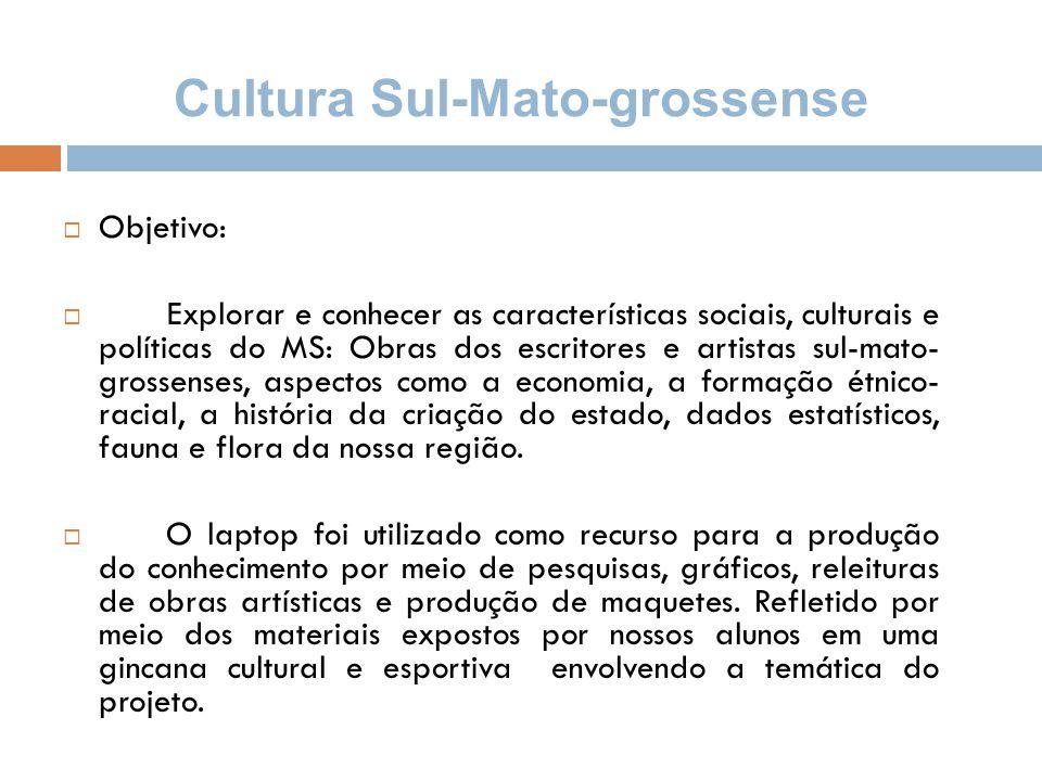Cultura Sul-Mato-grossense  Objetivo:  Explorar e conhecer as características sociais, culturais e políticas do MS: Obras dos escritores e artistas