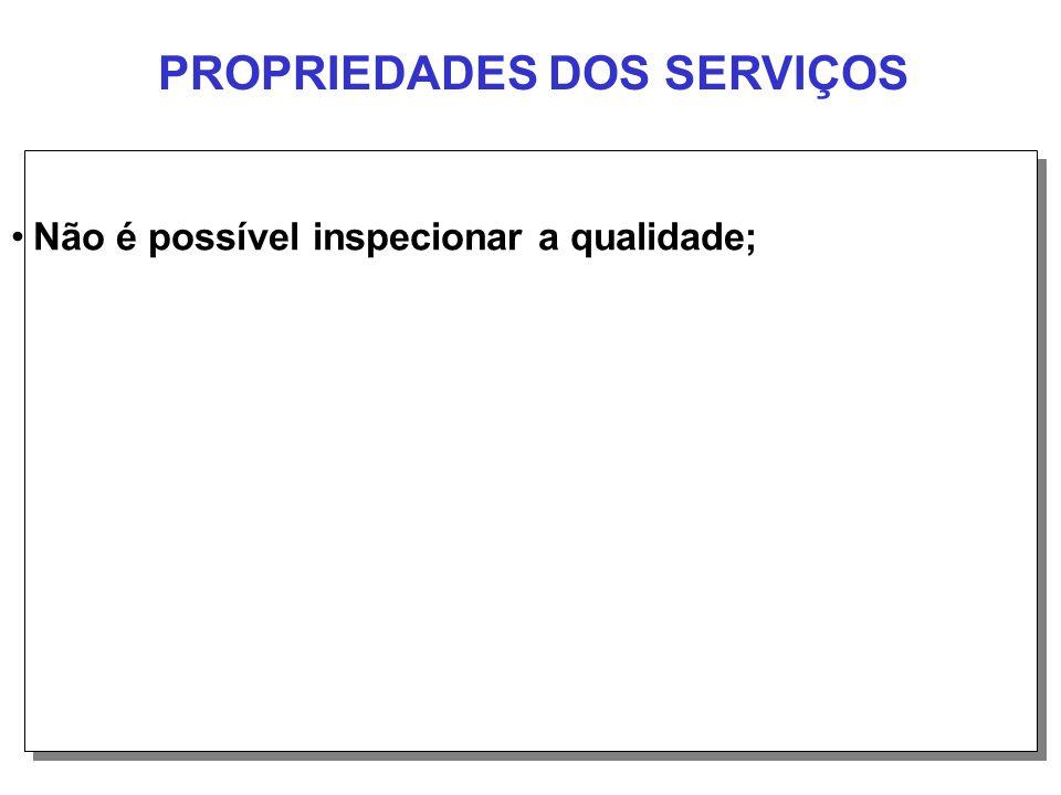 PROPRIEDADES DOS SERVIÇOS Não é possível inspecionar a qualidade;