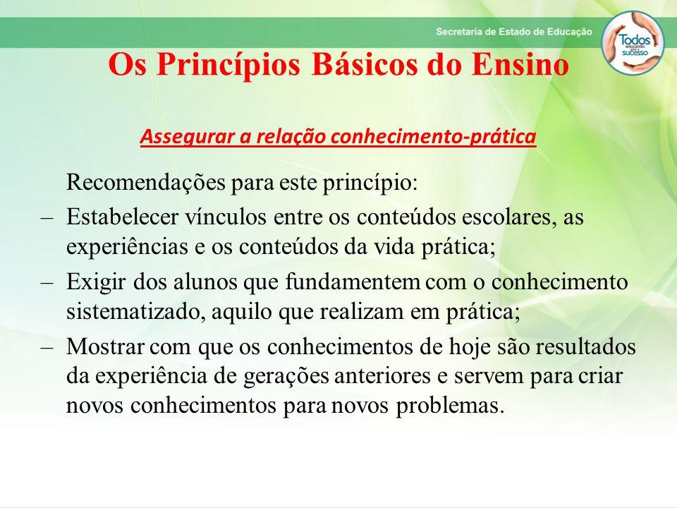 Os Princípios Básicos do Ensino Assegurar a relação conhecimento-prática Recomendações para este princípio: –Estabelecer vínculos entre os conteúdos e