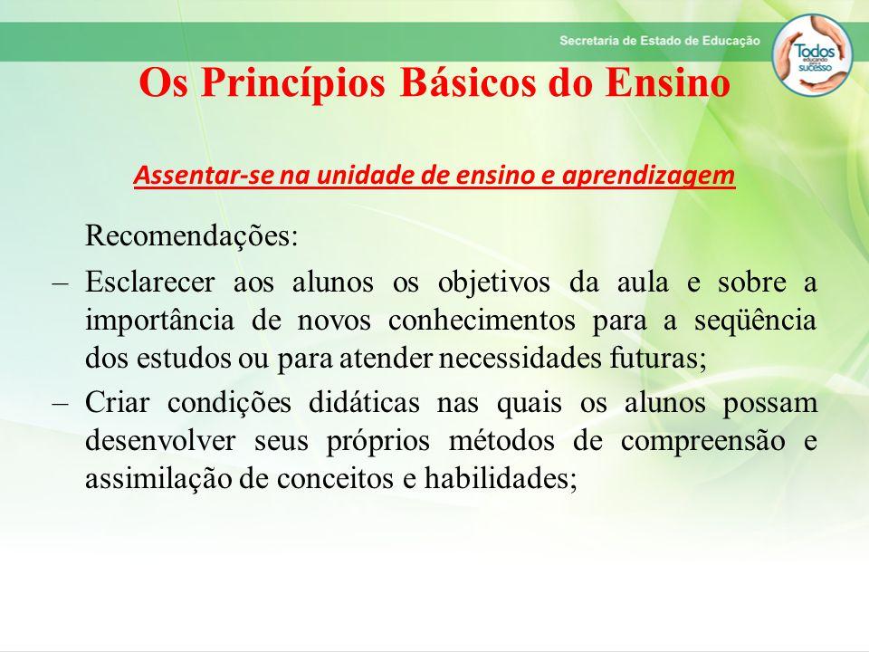 Os Princípios Básicos do Ensino Assentar-se na unidade de ensino e aprendizagem Recomendações: –Esclarecer aos alunos os objetivos da aula e sobre a i