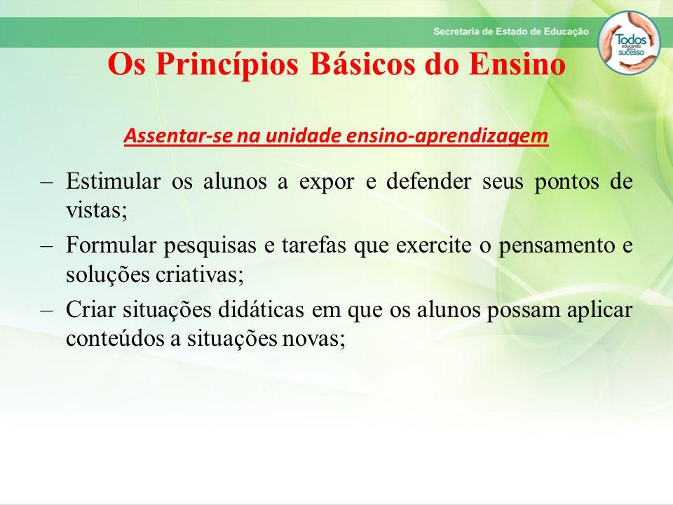 Os Princípios Básicos do Ensino Assentar-se na unidade ensino-aprendizagem –Estimular os alunos a expor e defender seus pontos de vistas; –Formular pe
