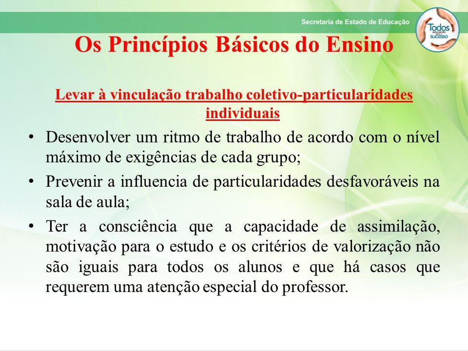 Os Princípios Básicos do Ensino Levar à vinculação trabalho coletivo-particularidades individuais Desenvolver um ritmo de trabalho de acordo com o nív