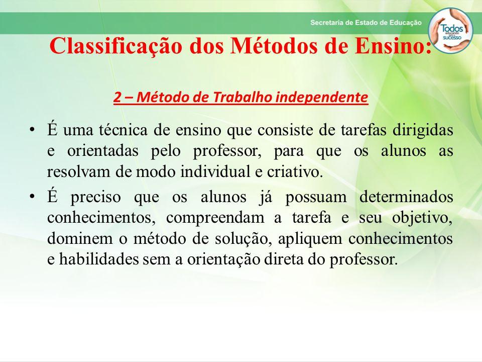 Classificação dos Métodos de Ensino: 2 – Método de Trabalho independente É uma técnica de ensino que consiste de tarefas dirigidas e orientadas pelo p