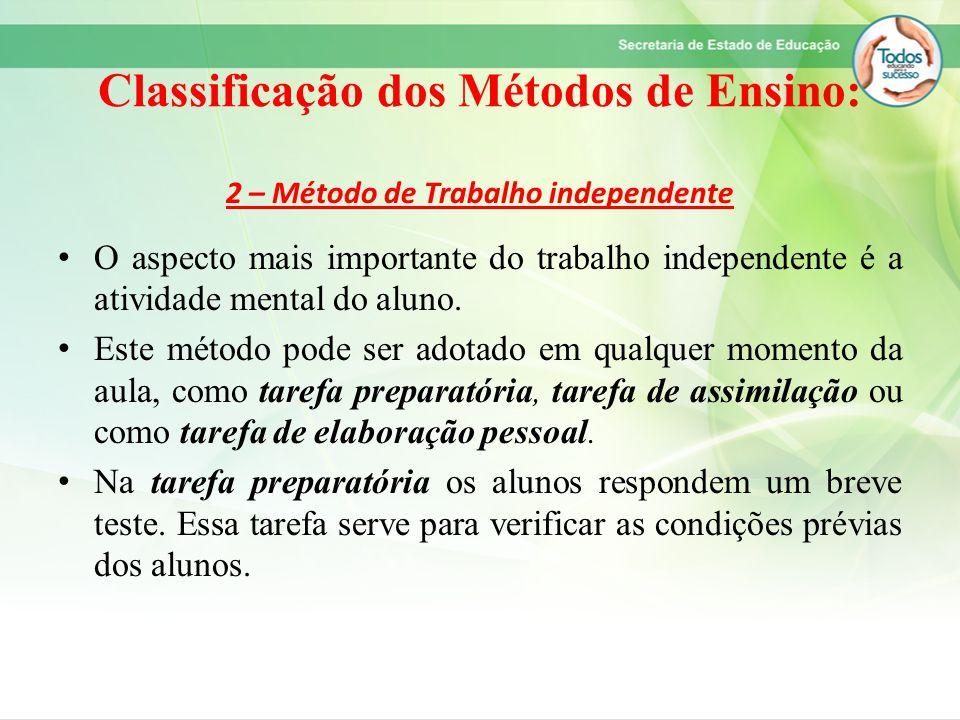 Classificação dos Métodos de Ensino: 2 – Método de Trabalho independente O aspecto mais importante do trabalho independente é a atividade mental do al