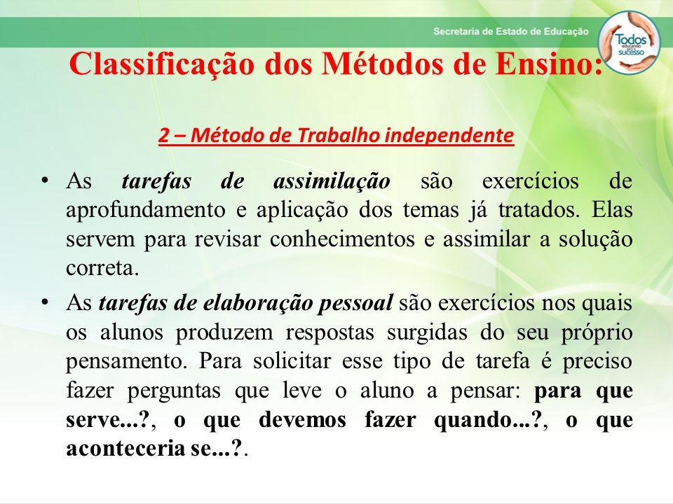 Classificação dos Métodos de Ensino: 2 – Método de Trabalho independente As tarefas de assimilação são exercícios de aprofundamento e aplicação dos te