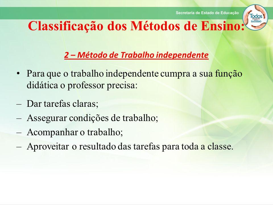 Classificação dos Métodos de Ensino: 2 – Método de Trabalho independente Para que o trabalho independente cumpra a sua função didática o professor pre