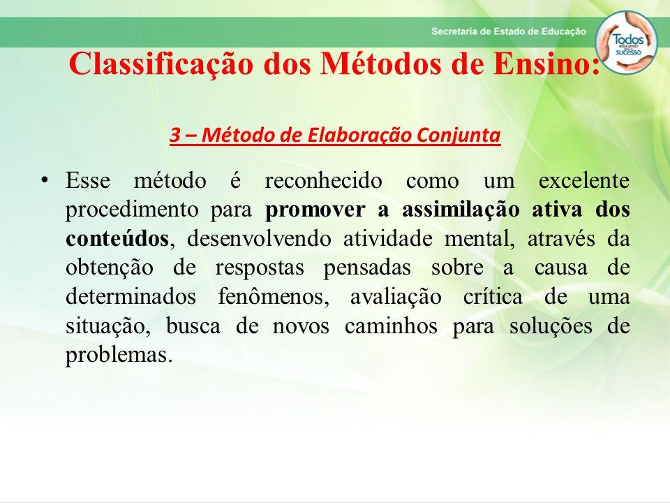 Classificação dos Métodos de Ensino: 3 – Método de Elaboração Conjunta Esse método é reconhecido como um excelente procedimento para promover a assimi