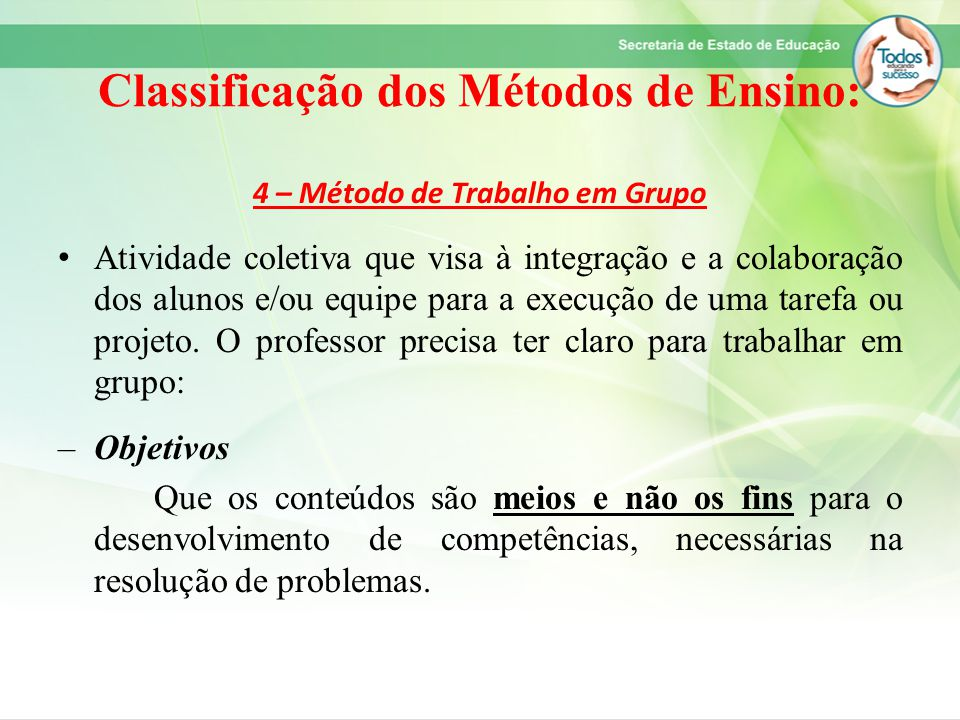 Classificação dos Métodos de Ensino: 4 – Método de Trabalho em Grupo Atividade coletiva que visa à integração e a colaboração dos alunos e/ou equipe p