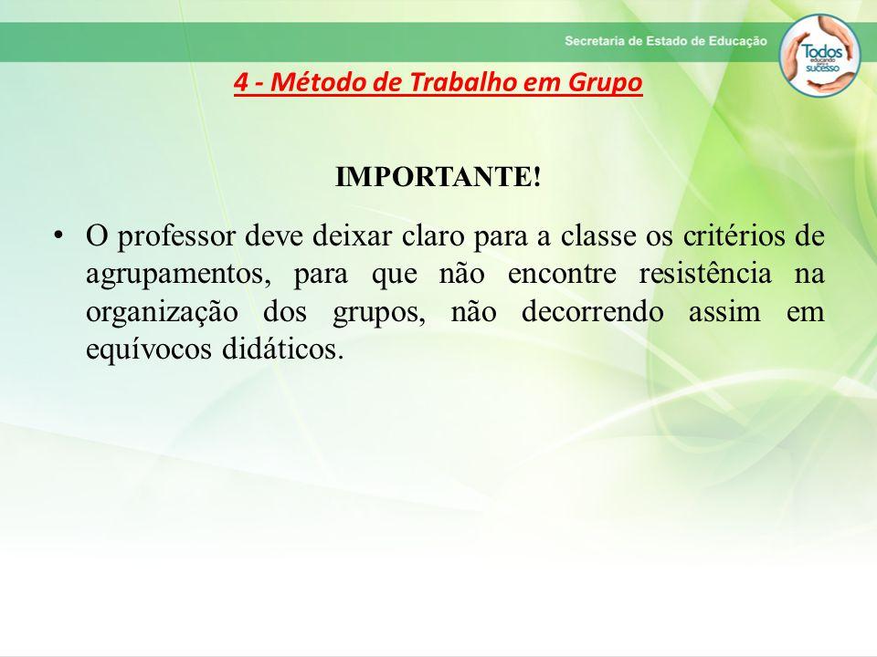 4 - Método de Trabalho em Grupo IMPORTANTE! O professor deve deixar claro para a classe os critérios de agrupamentos, para que não encontre resistênci