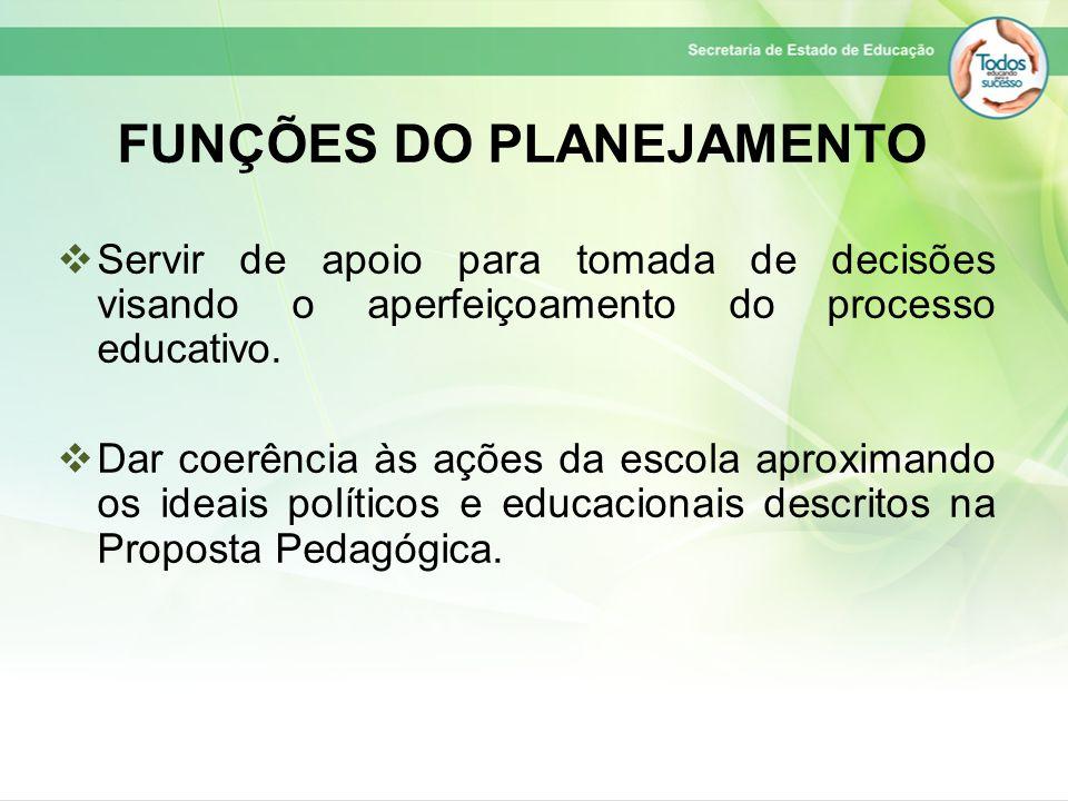 FUNÇÕES DO PLANEJAMENTO  Servir de apoio para tomada de decisões visando o aperfeiçoamento do processo educativo.  Dar coerência às ações da escola