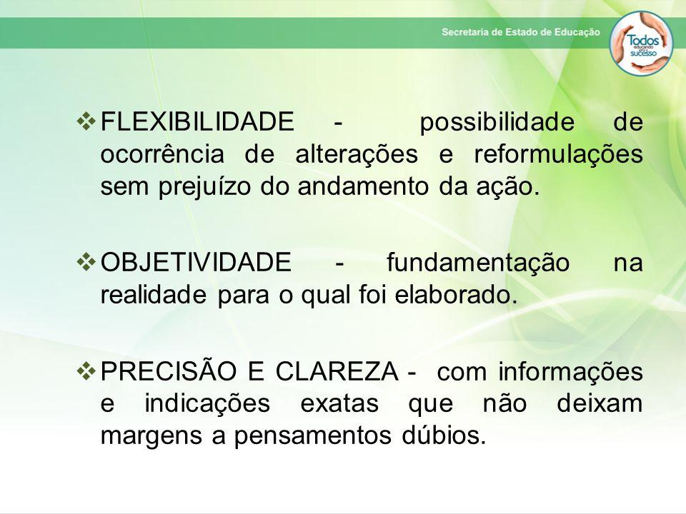  FLEXIBILIDADE - possibilidade de ocorrência de alterações e reformulações sem prejuízo do andamento da ação.  OBJETIVIDADE - fundamentação na reali