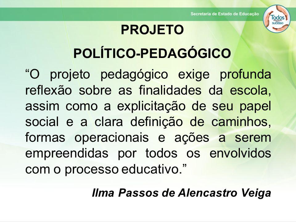 """""""O projeto pedagógico exige profunda reflexão sobre as finalidades da escola, assim como a explicitação de seu papel social e a clara definição de cam"""