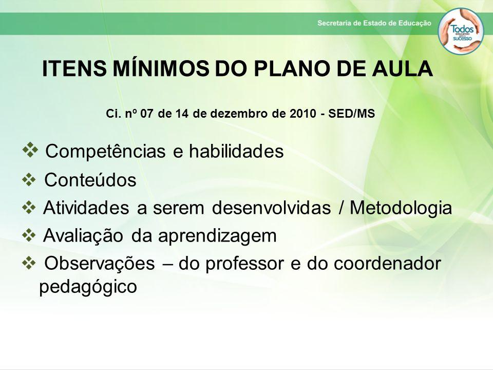 ITENS MÍNIMOS DO PLANO DE AULA  Competências e habilidades  Conteúdos  Atividades a serem desenvolvidas / Metodologia  Avaliação da aprendizagem 