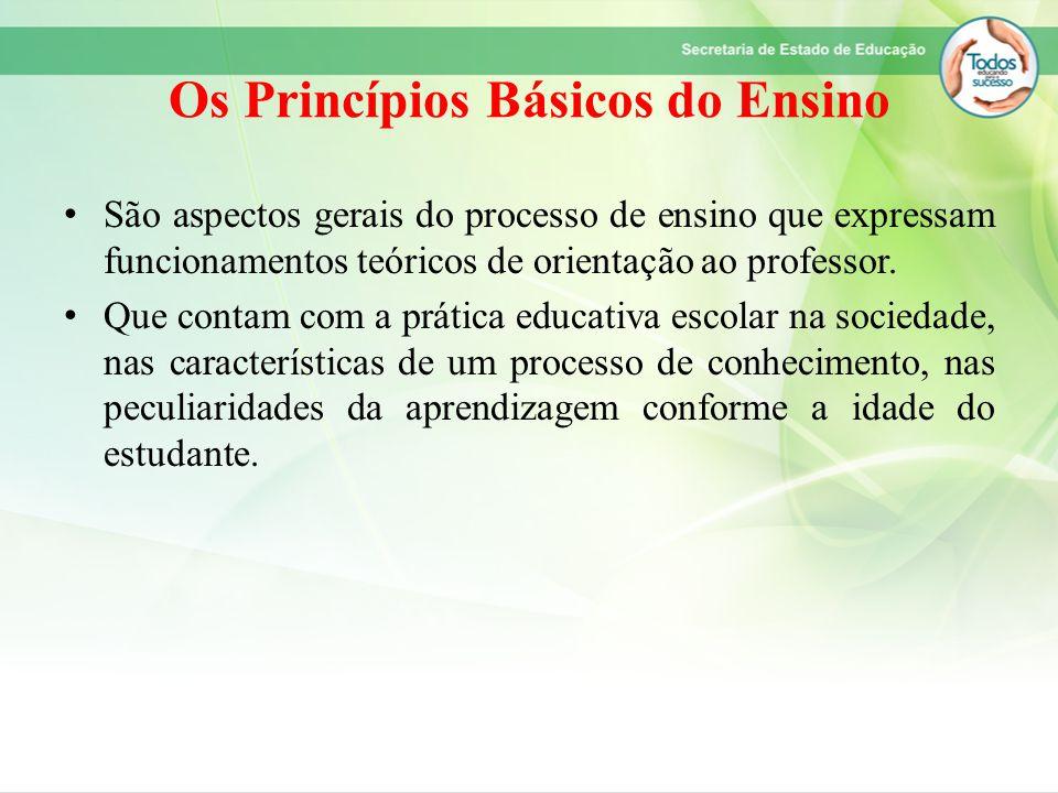 Os Princípios Básicos do Ensino São aspectos gerais do processo de ensino que expressam funcionamentos teóricos de orientação ao professor. Que contam