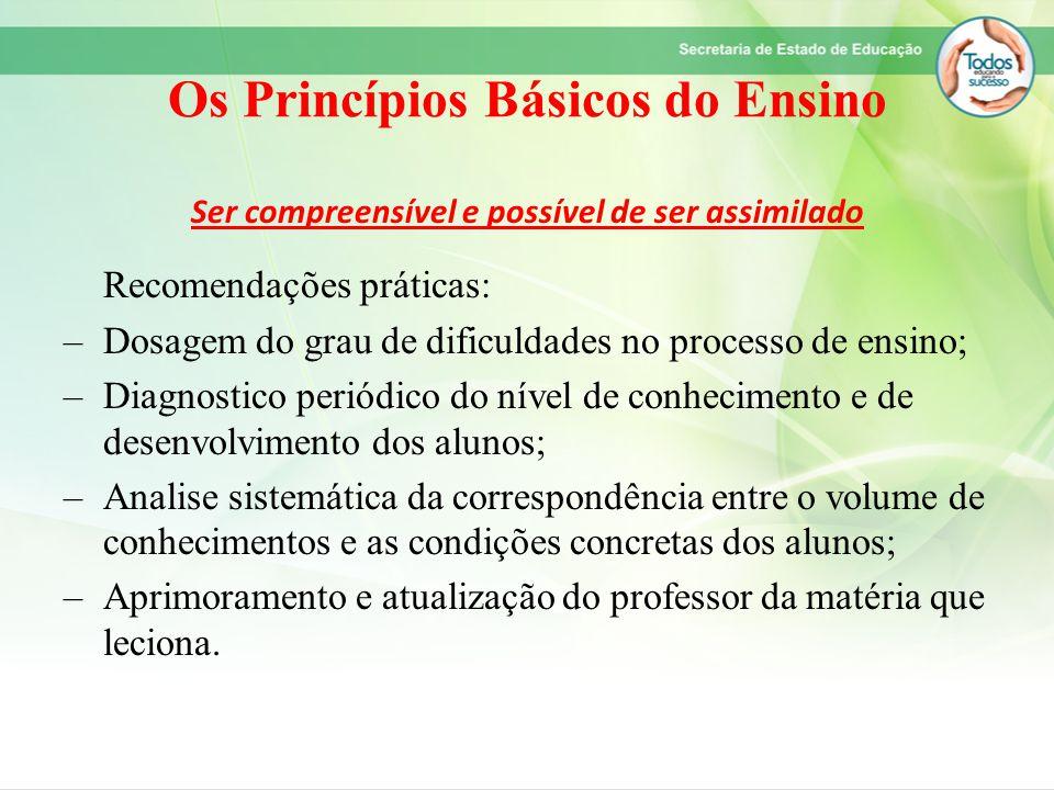 Os Princípios Básicos do Ensino Ser compreensível e possível de ser assimilado Recomendações práticas: –Dosagem do grau de dificuldades no processo de