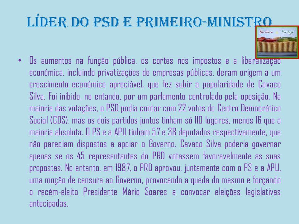 Líder do PSD e Primeiro-Ministro Os aumentos na função pública, os cortes nos impostos e a liberalização económica, incluindo privatizações de empresas públicas, deram origem a um crescimento económico apreciável, que fez subir a popularidade de Cavaco Silva.