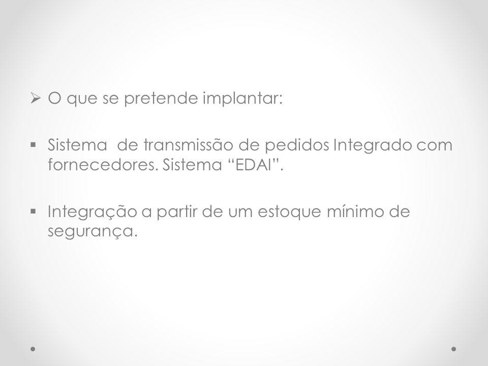 """ O que se pretende implantar:  Sistema de transmissão de pedidos Integrado com fornecedores. Sistema """"EDAI"""".  Integração a partir de um estoque mín"""