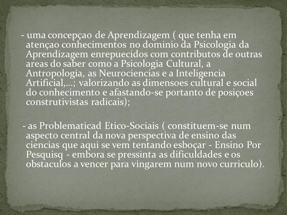 - uma concepçao de Aprendizagem ( que tenha em atençao conhecimentos no dominio da Psicologia da Aprendizagem enrepuecidos com contributos de outras a