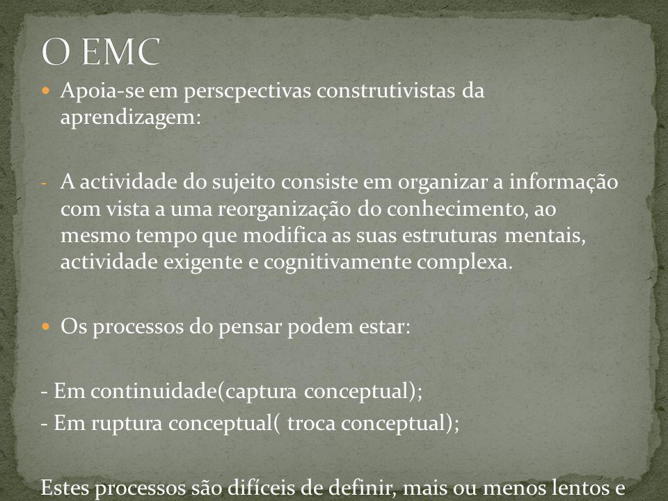 Apoia-se em perscpectivas construtivistas da aprendizagem: - A actividade do sujeito consiste em organizar a informação com vista a uma reorganização