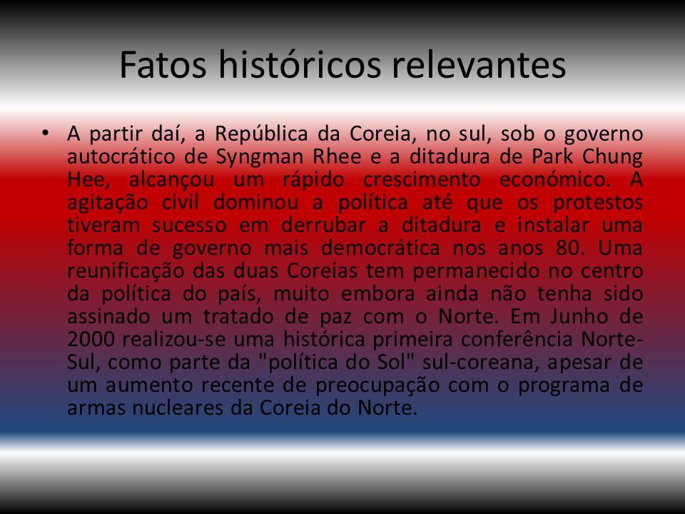 Fatos históricos relevantes A partir daí, a República da Coreia, no sul, sob o governo autocrático de Syngman Rhee e a ditadura de Park Chung Hee, alc