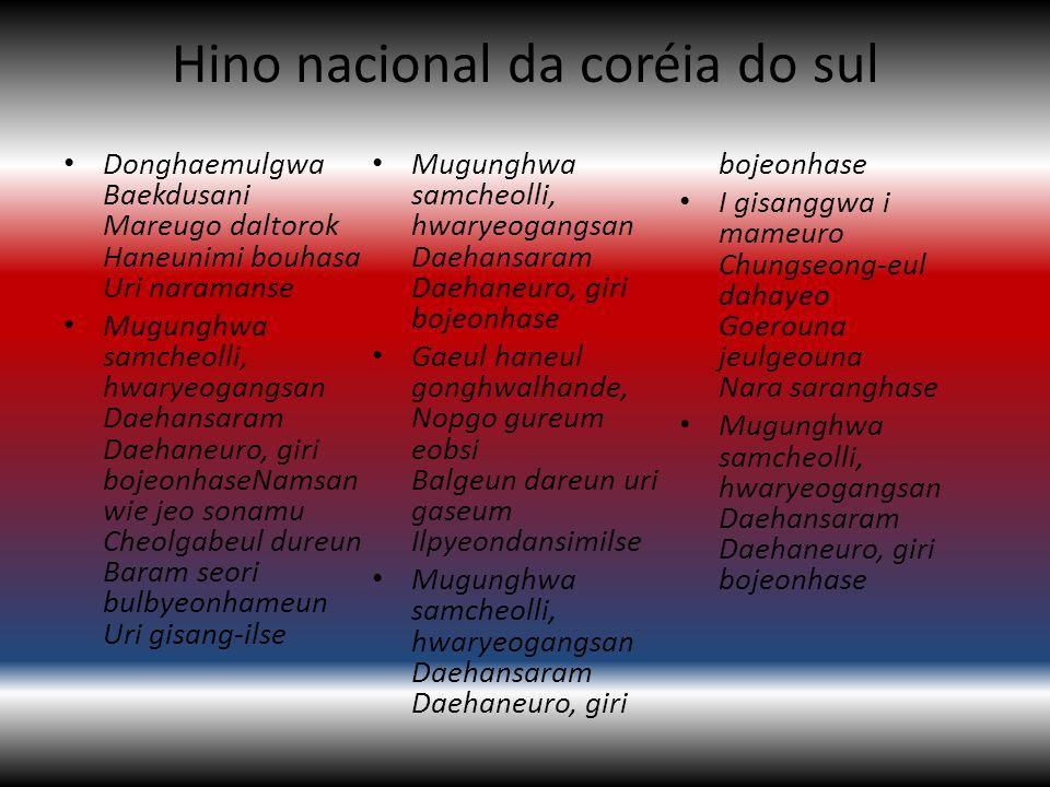 Hino nacional da coréia do sul Donghaemulgwa Baekdusani Mareugo daltorok Haneunimi bouhasa Uri naramanse Mugunghwa samcheolli, hwaryeogangsan Daehansa