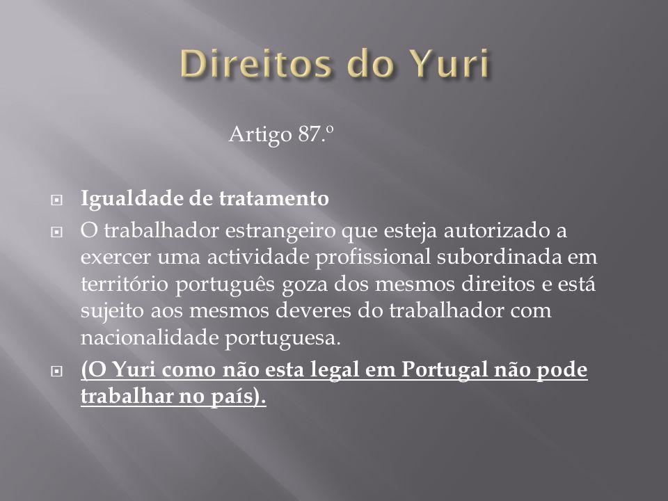 Artigo 87.º  Igualdade de tratamento  O trabalhador estrangeiro que esteja autorizado a exercer uma actividade profissional subordinada em territóri
