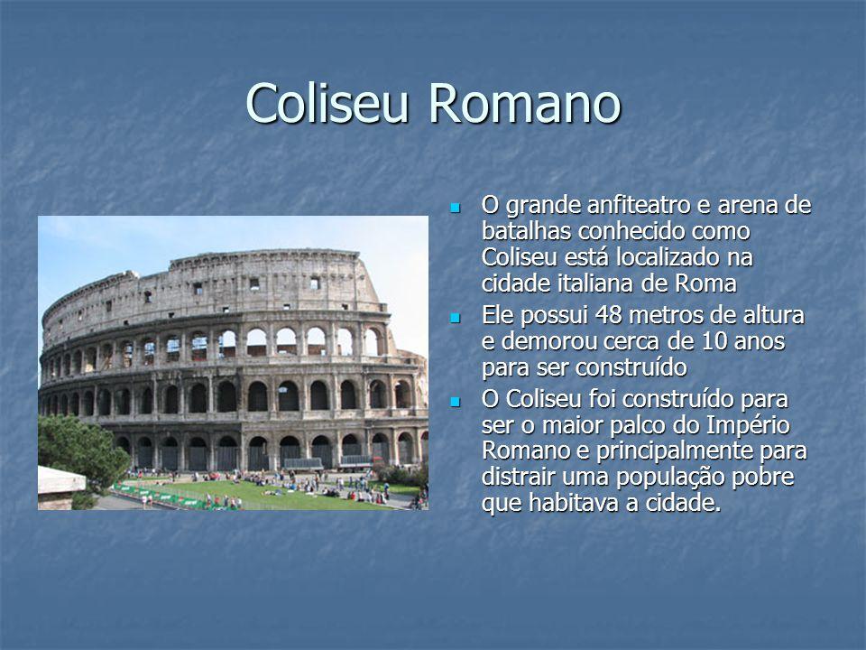 Coliseu Romano O grande anfiteatro e arena de batalhas conhecido como Coliseu está localizado na cidade italiana de Roma O grande anfiteatro e arena d