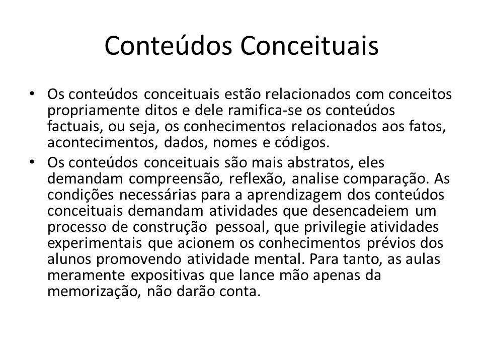 """Dos conteúdos César Coll (1986) propôs um agrupamento de """"novos conteúdos"""", que seriam: conceituais, procedimentais e atitudinais. Esta divisão corres"""