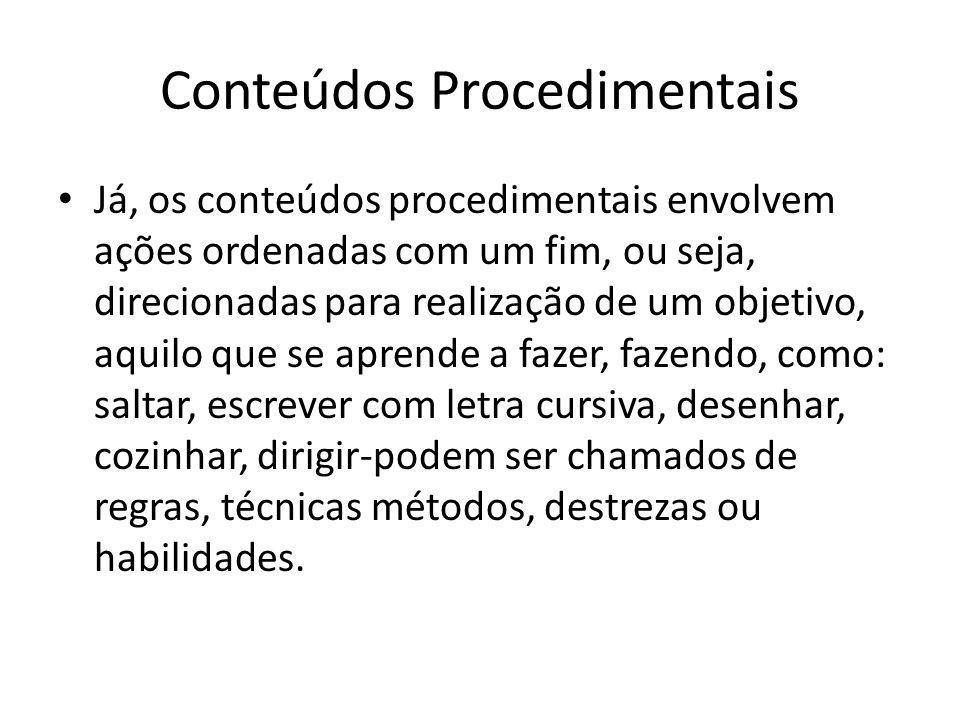 Conteúdos Conceituais Os conteúdos conceituais estão relacionados com conceitos propriamente ditos e dele ramifica-se os conteúdos factuais, ou seja,