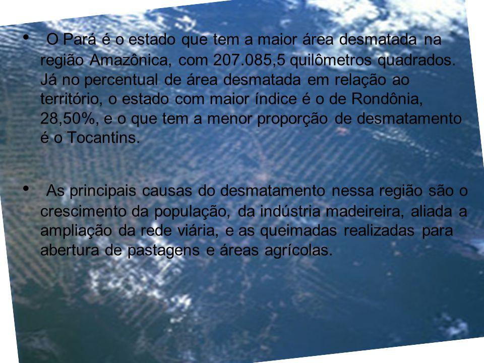 O Pará é o estado que tem a maior área desmatada na região Amazônica, com 207.085,5 quilômetros quadrados. Já no percentual de área desmatada em relaç