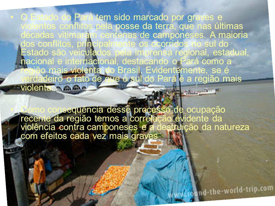 O Estado do Pará tem sido marcado por graves e violentos conflitos pela posse da terra, que nas últimas décadas vitimaram centenas de camponeses. A ma