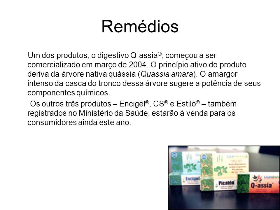 Remédios Um dos produtos, o digestivo Q-assia ®, começou a ser comercializado em março de 2004. O princípio ativo do produto deriva da árvore nativa q