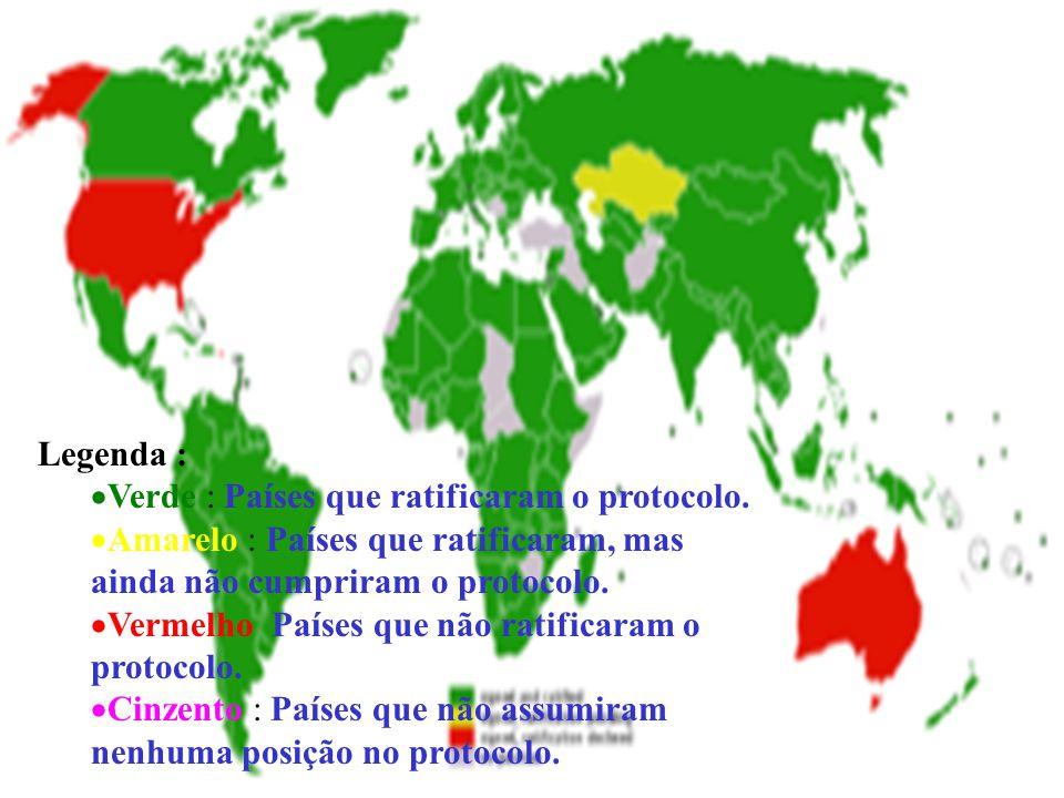 Legenda :  Verde : Países que ratificaram o protocolo.  Amarelo : Países que ratificaram, mas ainda não cumpriram o protocolo.  Vermelho Países que