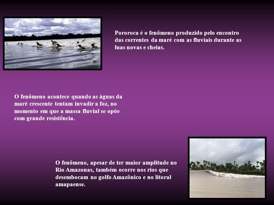 Pororoca é o fenômeno produzido pelo encontro das correntes da maré com as fluviais durante as luas novas e cheias. O fenômeno acontece quando as água