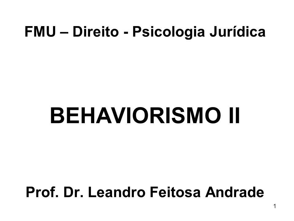 1 FMU – Direito - Psicologia Jurídica BEHAVIORISMO II Prof. Dr. Leandro Feitosa Andrade