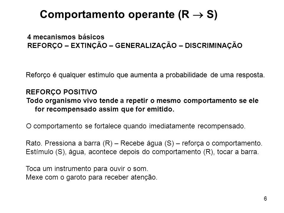 6 Reforço é qualquer estimulo que aumenta a probabilidade de uma resposta.